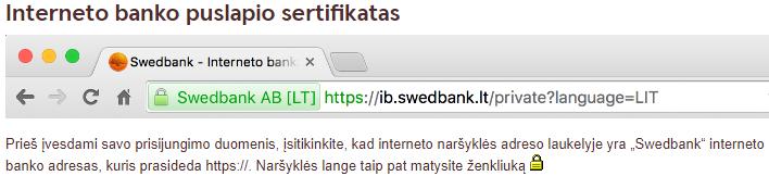 Swedbank pagrindinės saugumo rekomendacijos